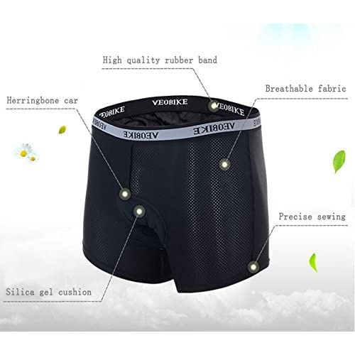 Veobike Men 3D Padded Bicycle Cycling Underwear Shorts Underpants Black