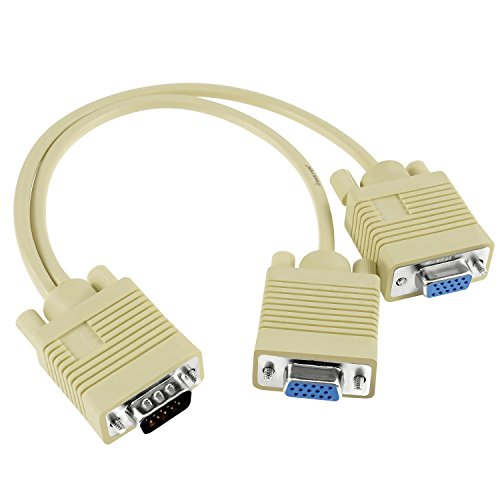 Insten 287238 for VGA Gold 1 Male to 2 Female Video Splitter (Gold Hddb15 M Monitor)