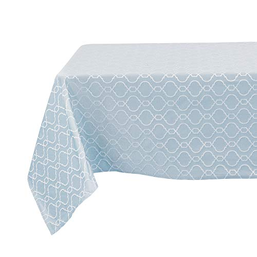 Cheap Deconovo Modern Table Cloth Wrinkle Resistant Jacquard Morrocan Table Cover Spillproof Tablecloth for Dining Room 54×102 inch Sky Blue