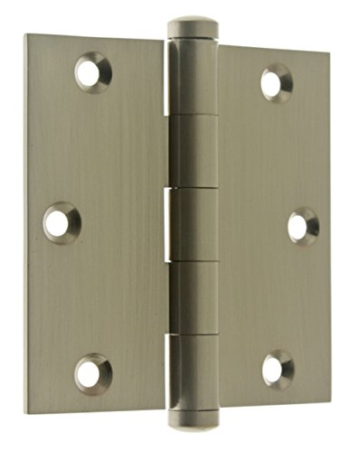 idh by St. Simons 83535-015 Professional Grade Quality Genuine Solid Brass 3-1/2 inch x 3-1/2 inch Full Mortise Door Hinges (Pair), Satin Nickel