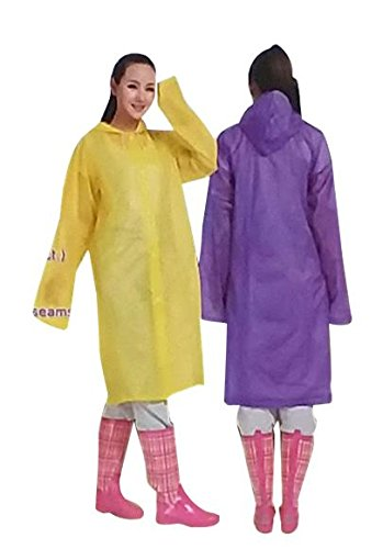 50 EVA Fashion Adult Comfortable Hooded Raincoat Poncho Reusable Unisex Multiple Colors Wholesale Lot Bulk For Sporting Events, Camping, Traveling, Concerts ()