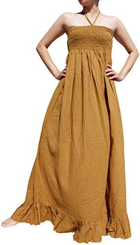 Raan Pah Muang Brand Smock Bust Halter Top Soft Thai Cotton Gypsy Dress, Large, Dark Goldenrod Brown