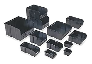 Quantum QUS239 Plastic Storage Stacking Ultra Bin, 10-Inch by 8-Inch by 7-Inch, Black Conductive, Case of 6