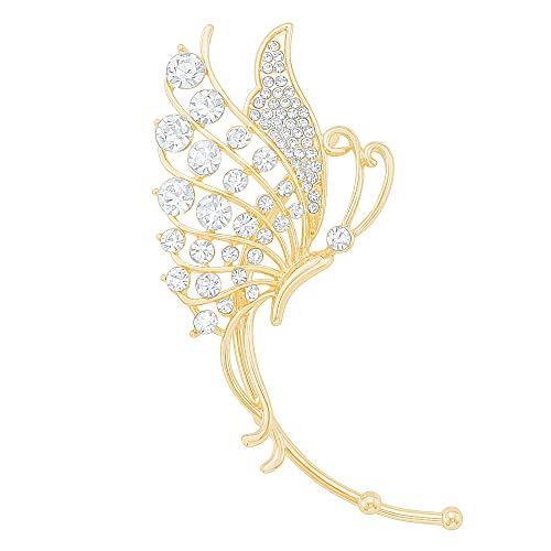 Gold Crystal Butterfly Ear Wrap Ear Cuff Earring Unique Clip on Non Pierced Earring for Right ()