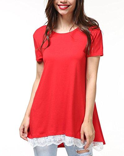 Cute T-Shirt for Teen Grils Summer Clothing Lightweight Roomy Cool Tops Red (Cool Womens Light T-shirt)