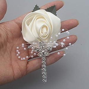 YOYOYU ART HOME DECOR 2 Pcs/Pack Wedding Corsages Boutonniere Groom Diamond Crystal Wedding Flowers Pearl Beaded Brooch Flowers (Cream) 3