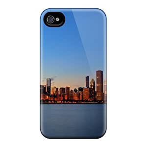 Hot FvzaYUw5844uMKZn Beautiful Chicago Skyline pc Case Cover Compatible With Iphone 4/4s
