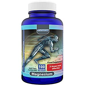 High Absorption Magnesium Oxide for Leg Cramps and Sore Muscles, Restless Leg Syndrome Relief (RLS), Muscle Relaxer with Vitamin B6, D and E, 380mg Gluten Free, 100 Servings