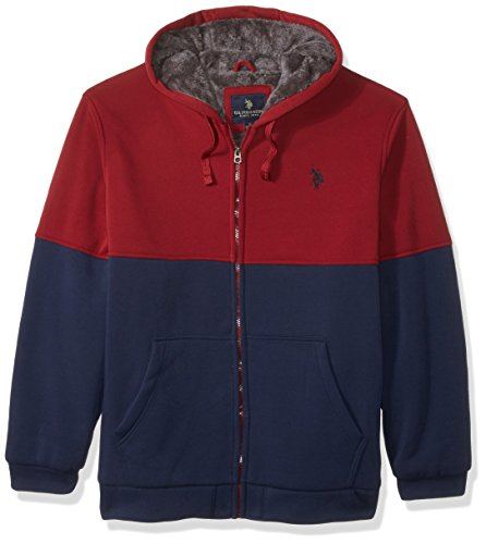 Colorblock Hoodie s Sherpa 6381 En Homme Fleece University U Red Polo Polaire Lined Assn Veste 8Iqwx4Zg