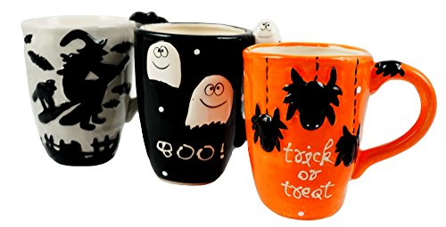 Halloween Themed Hand Painted Coffee Mugs - Set of -