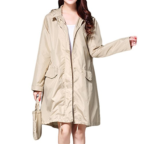 Water Mujeres Repelente Rain Portátil Caqui Transpirables Ladies Impermeables Largos Fashion Coat Impermeable Mxssi Ax6PFw8qq