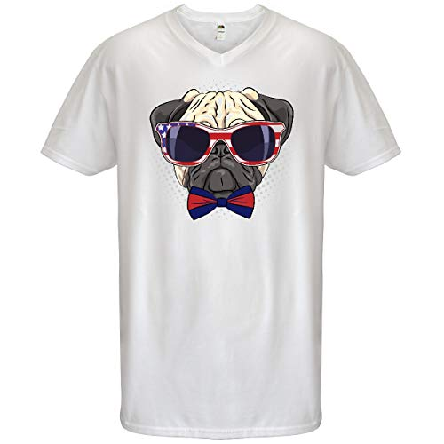 inktastic Pug Dog July 4th Patriotic Sunglasses Men's V-Neck T-Shirt Large ()