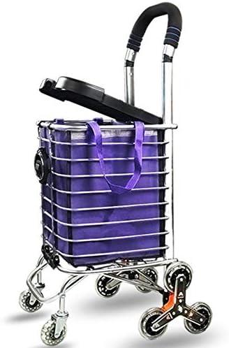 WPCBAA Mit Deckel kann Aluminium-Legierung Einkaufswagen zusammenklappbar Kristall stumm Lager Rad Laufwagen Klettern hohe Last tragende Laufkatze (Size : 8 Rounds)