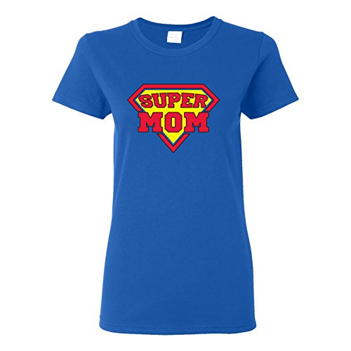 UGP Campus Apparel Super Mom Ladies T-Shirt Basic Cotton - Large - Royal