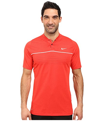 Nike Tiger Woods Pullover - Nike Golf Tiger Woods Vl Max Swing Knit Stripe Light Crimson/White/Black/Reflect Black Men's Short Sleeve Pullover