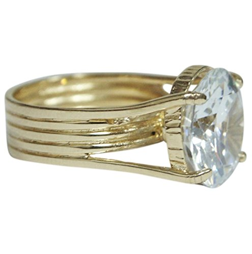 14k Yellow Gold Plated Vintage Cubic Zirconia Ring Designer Fashion Gp Size 6