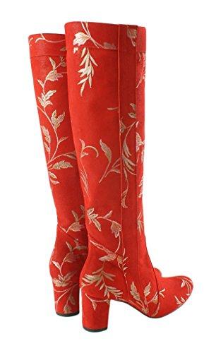 BOSCCOLO 4723-22-04 Stiefel Blatt-Design, Boots Leaf Design, Bottes Feuille Design Red