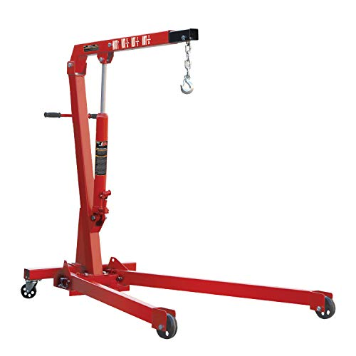 Torin Big Red Steel Engine Hoist / Shop Crane with Foldable Frame, 1 Ton (2,000 lb) ()