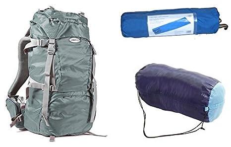 Camping set con mochila de senderismo, Térmica de saco de dormir y colchoneta autoinflable (, color gris, tamaño extra-large, volumen 70 liters: Amazon.es: ...