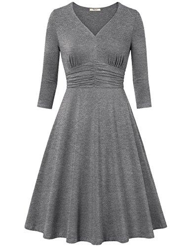 Bebonnie Women's Empire Waist 3/4 Sleeve 50s dresses V Neck Audrey Hepburn Rockabilly Party Wear XL Grey