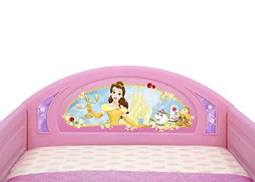 Delta Children Deluxe Character Toddler Bed with Attached guardrails, Featuring Frozen and Princess 3