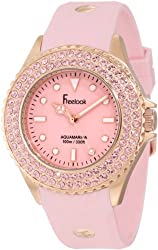 Freelook Women's HA9036RG-5 Pink Band & Dial Rose Gold Case Swarovski Bezel Watch
