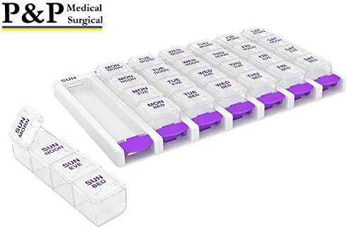 Weekly AM/PM Pill Box Portable Travel Prescription & Medication Pill Case Organizer by P&P MEDICAL SURGICAL (7-Day / 4-Times-A-Day) with Large Removable Compartments and Moisture-Proof Design
