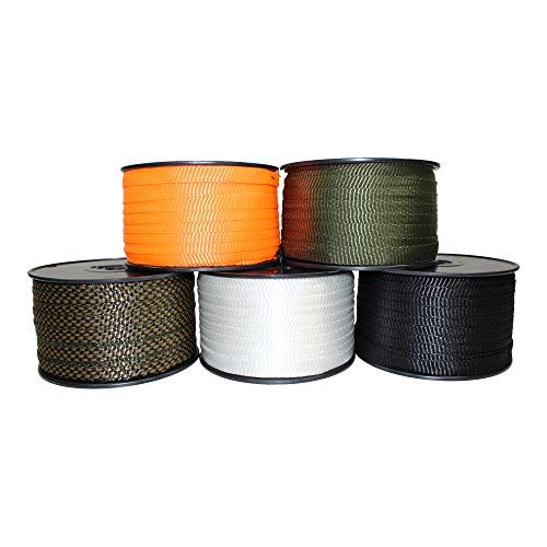SGT KNOTS Polyester Webbing (5/8 inch) Flat Rope - Durable Polyester Pull Tape Strap - Moisture, UV, Rot, Oil & Gas Resistant - Utility, Arborist, Gardening, Marine, Commercial (300 ft - White)