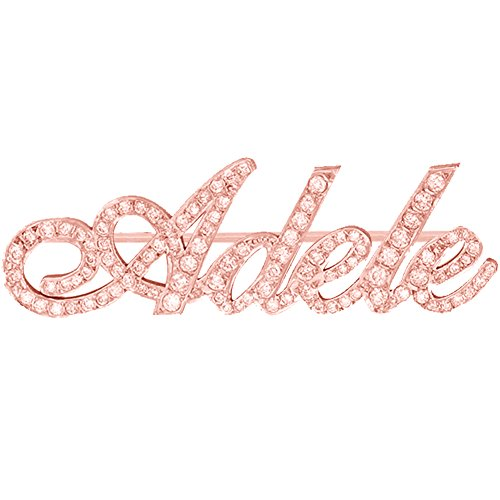 Ouslier 925 Sterling Silver Personalized Fully Crystal Stone Brooch Pin Custom Made with Any Names (Rose (18k Rose Brooch)