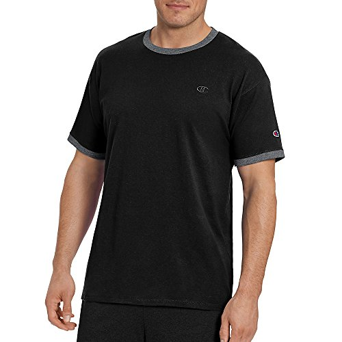 Champion Men's Classic Jersey Ringer Tee, Black/Granite Heather, S by Champion