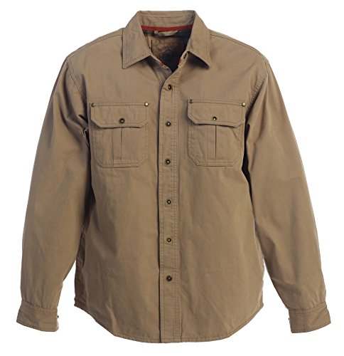Gioberti Men's Brushed and Soft Twill Shirt Jacket with Flannel Lining, Khaki, L