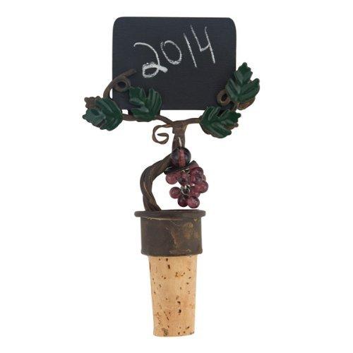4 3/4 Inch Hand Decorated Grapevine Design Chalkboard Bottle Stopper (Grapevine Wine Stopper)