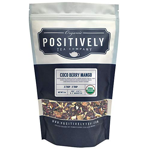 Positively Tea Company, Organic Coco Berry Mango, Herbal Tea, Loose Leaf, USDA Organic, 1 Pound Bag