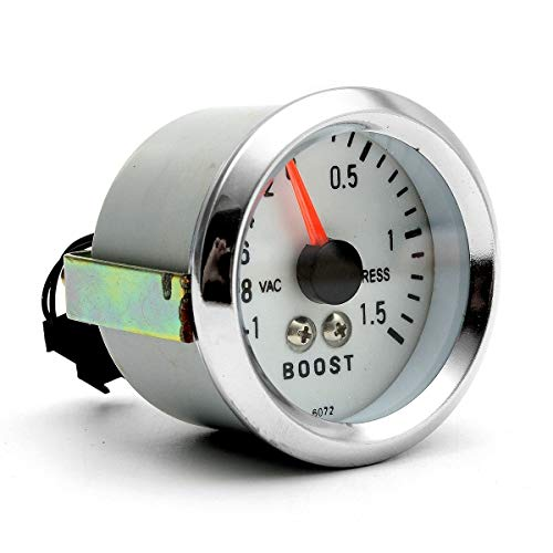 AutoE 12V DC Boost Gauge 2 Inch 52mm New Chrome Rim Electro Mechanical Luminescent Automobile 0 to ()