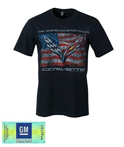(C7 Corvette The American Sports Car Vintage USA Flag Men's T-shirt : Black)