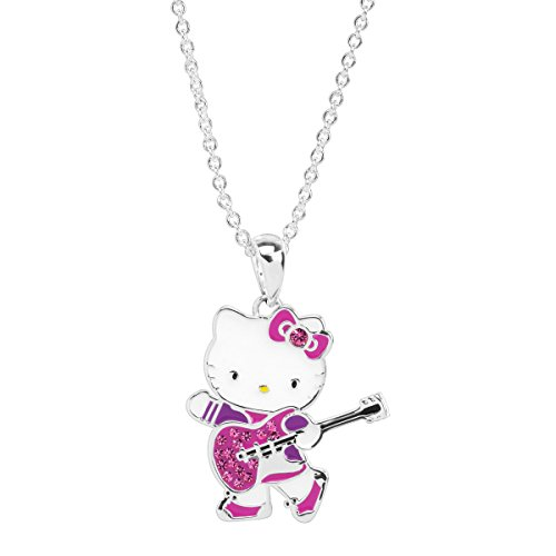 Finecraft Hello Kitty Guitar Pendant Necklace with Crystals in Sterling Silver-Plated Brass