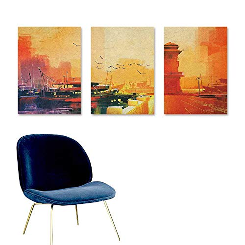 (Agoza Country Modern Decorative Painting Image of a Lighthouse and Fishing Boat at Sunset with Seagulls in Pastel Colors Art A for Your Relatives and Friends 3 Panels 16x31inch)