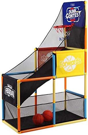 キッズアジャスタブルバスケットボールネットセット、ポータブルキッズバスケットボールスタンド、家庭用床射機(ボール2個付き)