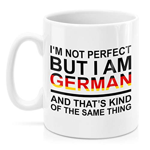 SAYOMEN - German Mug - I'm not perfect but I am German and that's kind of the same thing - German Flag Letters Coffee Mug MUG 11oz Gift for Men or Women, Christmas, Birthday, Valentines, Mother's Day