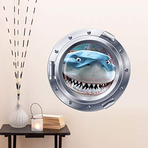 GVGs Shop 1 Pc 3D Ocean View Underwater Shark Window for Sea Peel Kids Animal Wall Stickers Lotus Flowers Jungle Love Decal Cars Decals Paramount Popular Vinyl Mural Art Decor, Type-01