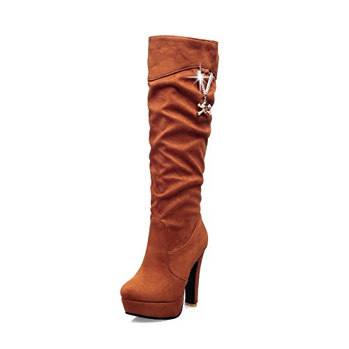 Toe High top on Round Frosted Boots Pull High Women's Heels Closed Brown Allhqfashion 1qYwFnzxSA