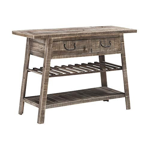 Ashley Furniture Signature Design - Camp Ridge Console Sofe Table & Wine Rack - Reclaimed Solid Wood in Gray Washed Finish - Antique Black Drawer Pulls ()
