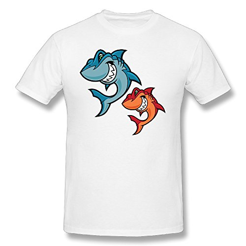 Price comparison product image Men's Two Shark Mouth Teeth Cartoon Graphic-Print Classic Short Sleeve T Shirts