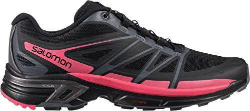 Salomon Women's Wings Pro 2 Trail Running Shoe,Black/Dark Cloud/Madder Pink,US 8