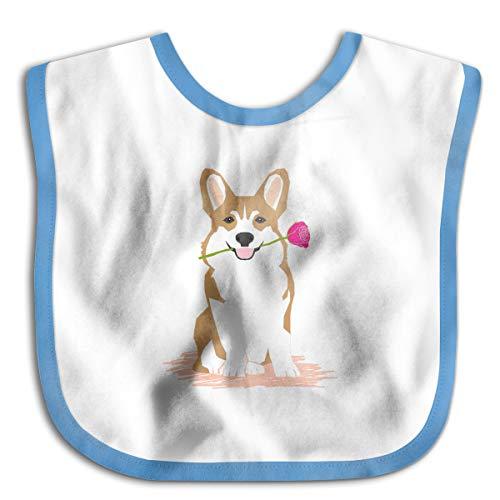 Mostico Nachill Corgi Dog Rose Starter Bib, Baby Bib Infant, Washable, Stain and Odor Resistant-Blue ()