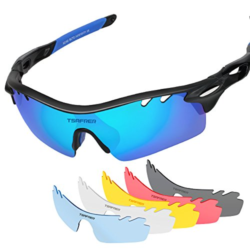 Tsafrer Polarized Sports Sunglasses with 6 Interchangeable Lenses for Cycling Driving Running - Customized Sunglass