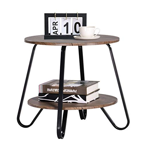 Vintage 2 Tiers Living Room End-Table Modern Industrial Nightstands for Bedroom Round Sofa Side-Table Wood Metal, Walnut