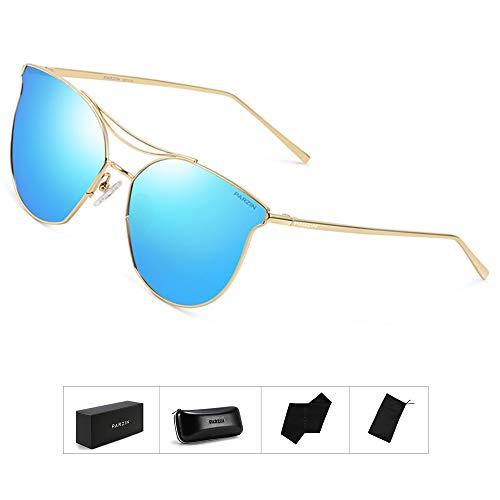 Fashion Women Sunglasses of Polarized, PARZIN Round Novelty Cat Eye Eyewear for Beach, Travel, Business (Blue Cateye)