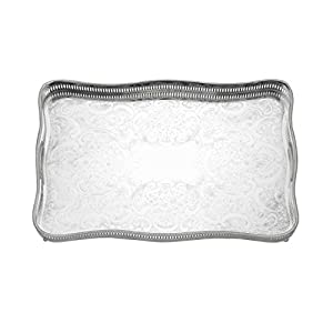 Reed & Barton 403 Rectangular Gallery Tray with Claw Foot, 18-Inch by 11.75-Inch by 2.5-Inch