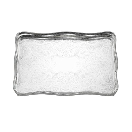 (Reed & Barton 403 Rectangular Gallery Tray with Claw Foot, 18-Inch by 11.75-Inch by 2.5-Inch)
